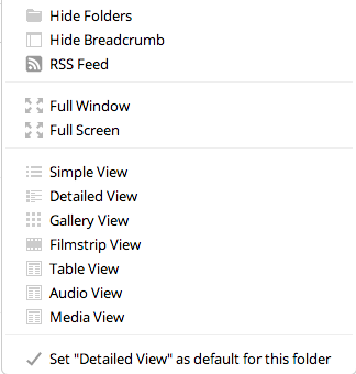 Alfresco Share Document Library view options